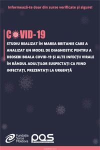 Studiu realizat în Marea Britanie care a analizat un model de diagnostic pentru a deosebi boala COVID-19 și alte infecții virale în rândul adulților suspectați ca fiind infectați, prezentați la urgență
