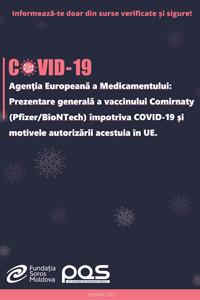 Agenţia Europeană a Medicamentului: Prezentare generală a vaccinului Comirnaty (Pfizer/BioNTech) împotriva COVID-19 și motivele autorizării acestuia în UE.